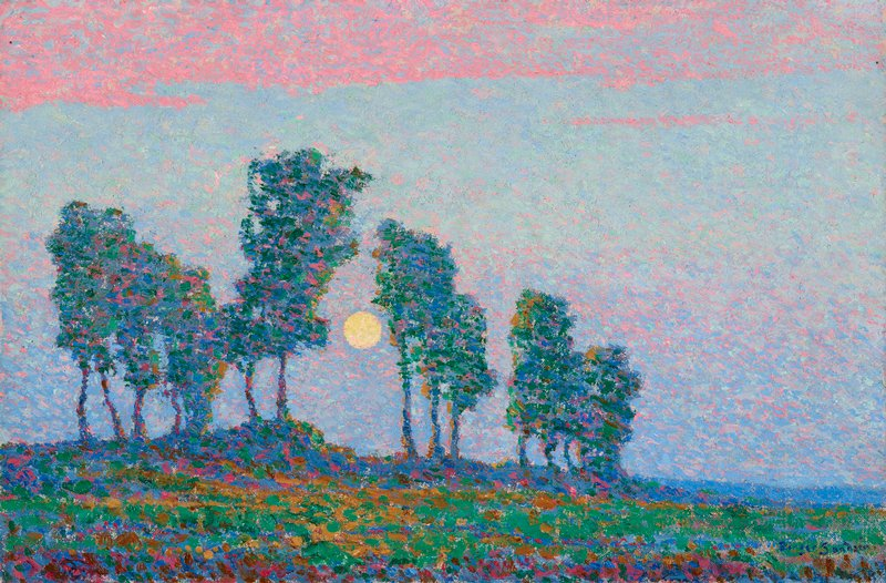 Line of tall, thin trees before a pale blue and pink sky, with sun in opening between trees; impressionistic style