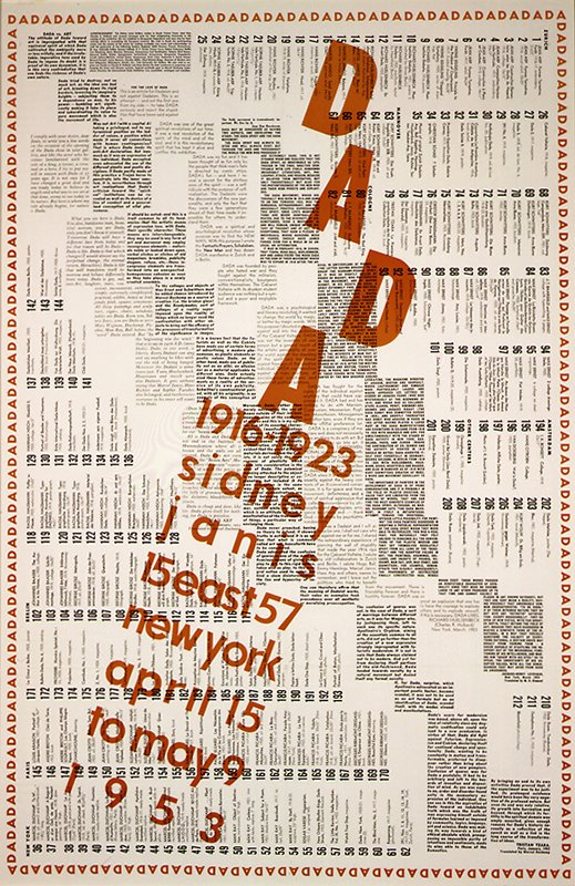 "black and orange text, including, ""Dada 1916-1923 Sidney . . ."", on off-white paper"