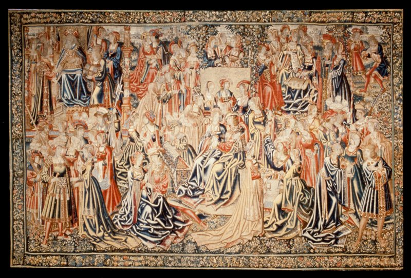 The Journey and Temptations of the Prodigal Son, wool and silk, Flemish XVc ; Warp undyed wool, 4-6 inds per cm., weft dyed wool and silk, 24-36 ends per cm.