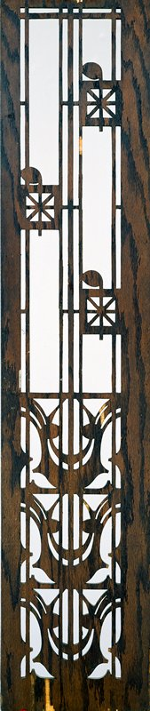 veneer wood panel with cut-out design, including three quarter notes; painted yellow; two brass hooks at one end; two loose chains; each 7 in. long