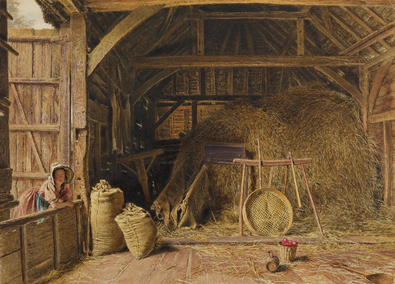 interior of barn with woman wearing pink dress and hat leaning in on L