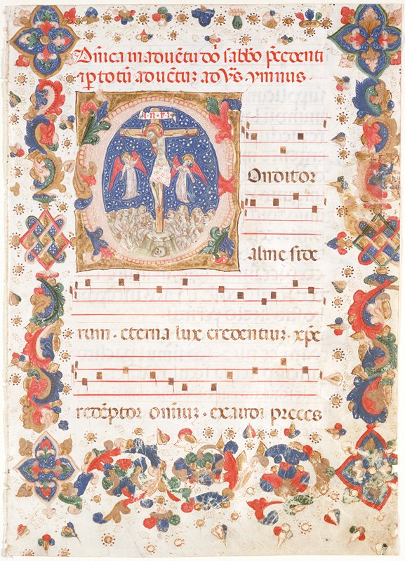 Overleaf lettered in brown and red with small initial capitals in blue and red