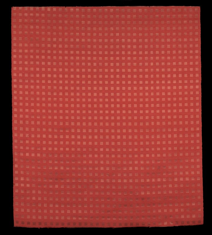 shiny red-on-red squares; rusty red silk thread contrasted with brown shiny silk, woven together to produce a reversable pattern of 3/4 inch squares