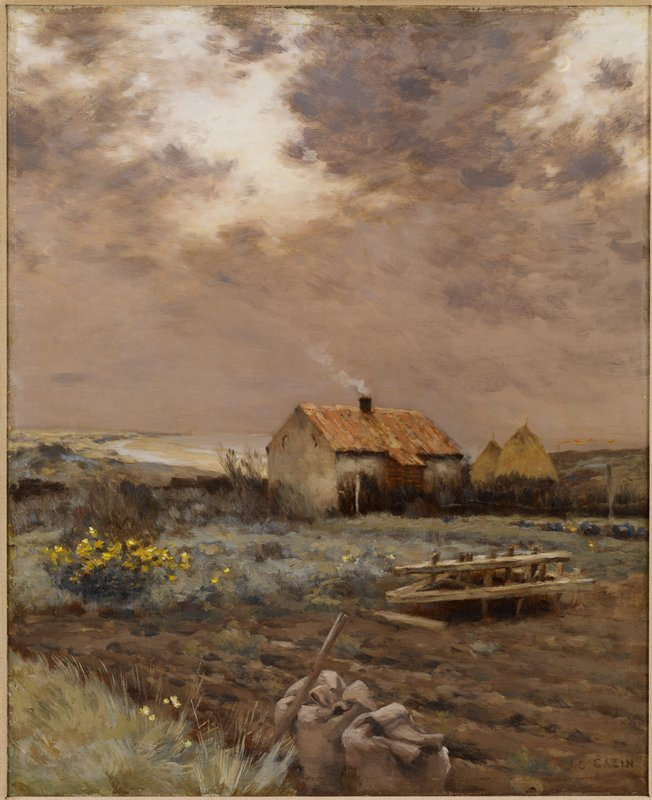 Small farm house with smoke rising from the chimney at center; lwo large hay stacks to right behind house; ploughed field in foreground with two bags of seed and a hoe at its border; group of yellow flowers to left and back edge of field; distant shoreline with beach in background at left center.