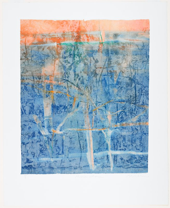 abstract; blue with orange at top; impressions of vertical and horizontal lines throughout image