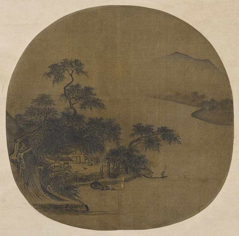 Buildings on a riverbank at left with 2 figures in a boat, one with a long staff, near center; mountains in background; fan remounted as a hanging scroll