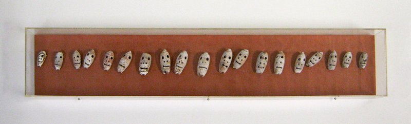 "19 shells carved into elongated skulls; mounted together under plexi; ranging in size from approx. 1-1/2"" to 2-1/4"""