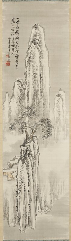 tall, thin vertical mountains; tree on peak at center; buildings at left