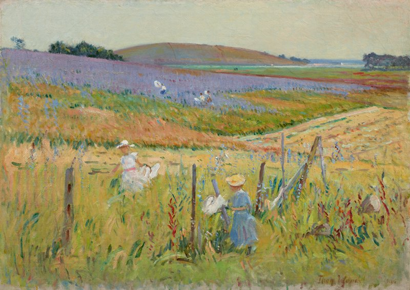 Landscape with two children in foreground walking next to a fence; three other figures with butterfly nets in middleground