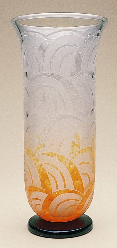 acid-etched geometric design with orange overlay at bottom third and a deep purple-black base