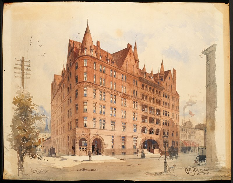 Red brick and stone building built by architect C.E. Joy, on a street corner; figures in front of building and on balconies at R; 2 carriages and dog in LRC; original frame