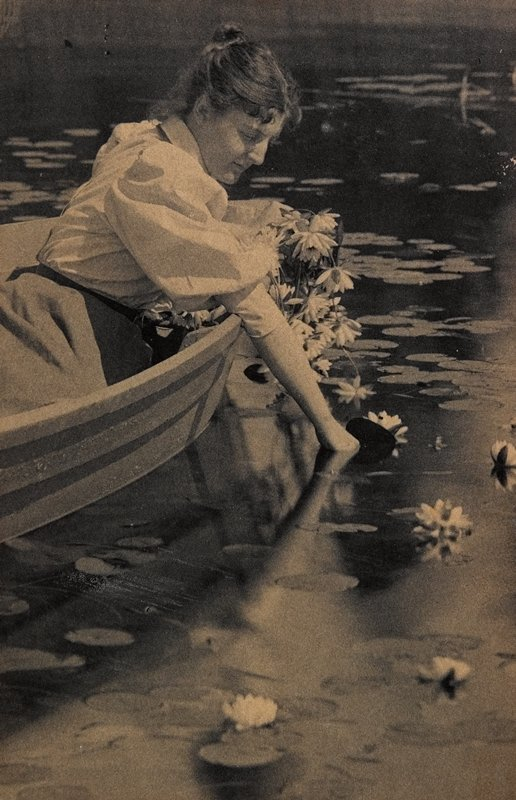woman with hair in a bun, wearing a white shirtwaist, leaning over the side of a rowboat, picking water lilies
