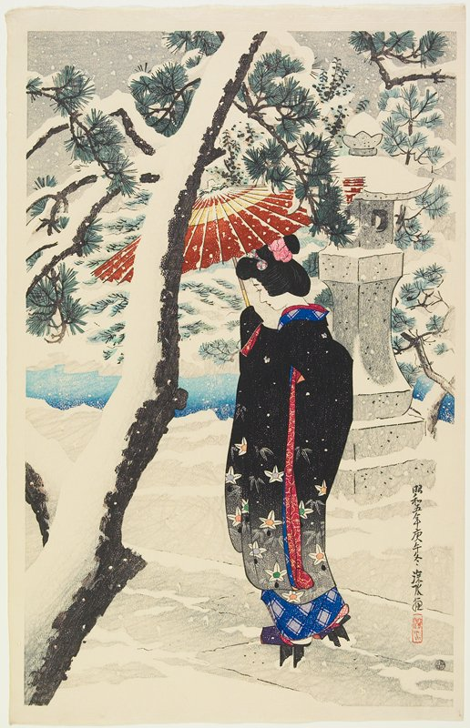 walking woman wearing a black coat with flowers at hem, holding a brown and tan umbrella; snow on tree at L and trees in background and on column at R