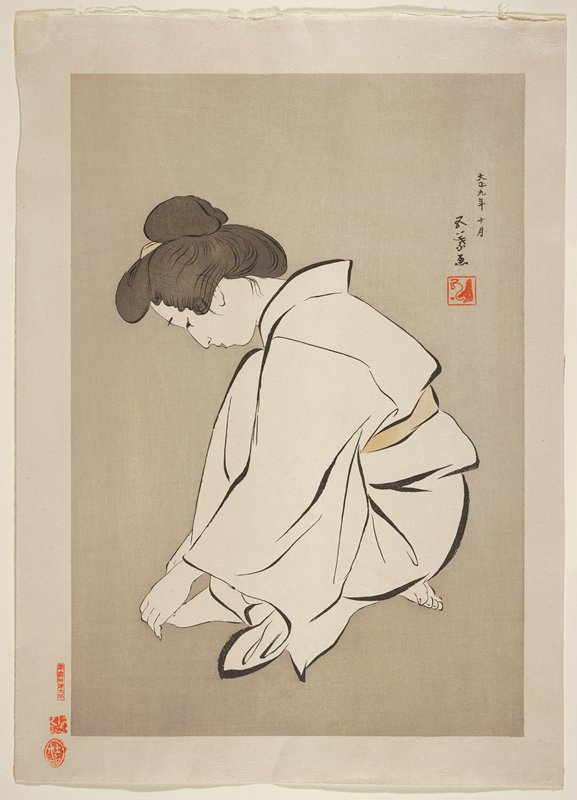 crouching woman with one foot under her body, one foot in front; grey ground