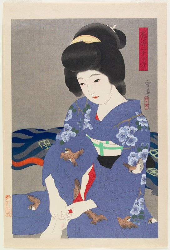seated woman wearing purpel kimono with brown and white birds and blue flowers; grey ground