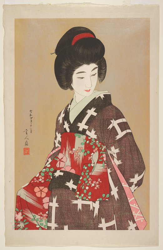 so-called brown version; head and torso of woman wearing black and white patterned kimono and obi with red, pink, green and white floral design; same image as L2001.372.155 with different colors