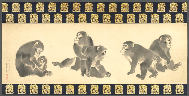 6 monkeys: adult and baby at L; pair wrestling at center; walking and seated monkeys at R