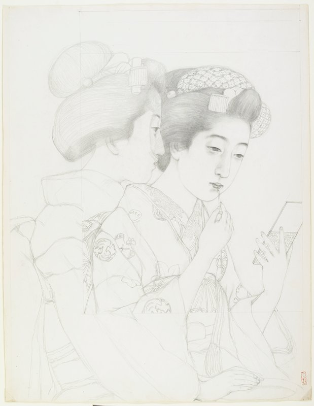 unsigned; preliminary sketch for the print (L2001.372.44); 2 women; woman at R applying pigment to her lips, with another woman looking on