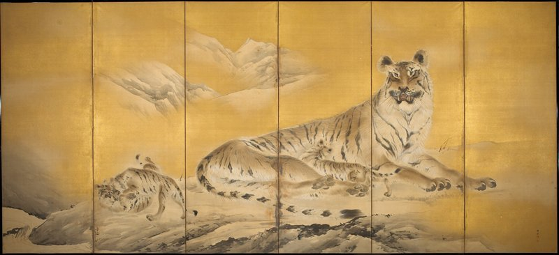 reclining tiger nursing a cub; 2 cubs playing at L; mountains in background; gold ground; inscription and seal, LRC