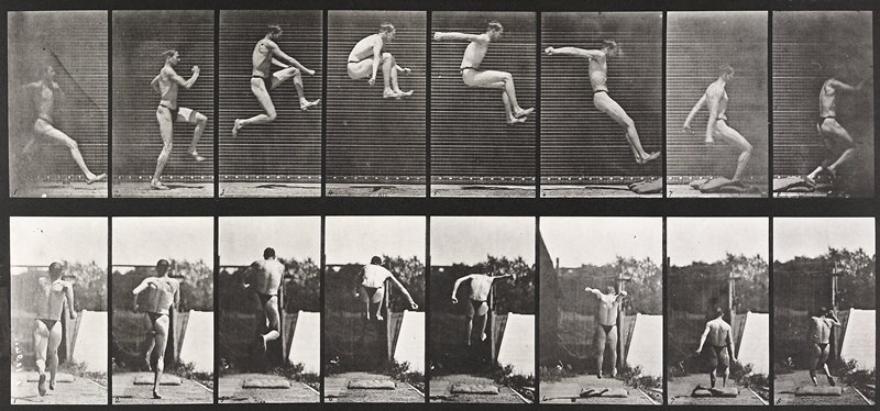 Jumping, running, broad jump. From a portfolio of 83 collotypes, 1887, by Edweard Muybridge; part of 781 plates published under the auspices of the University of Pennsylvania