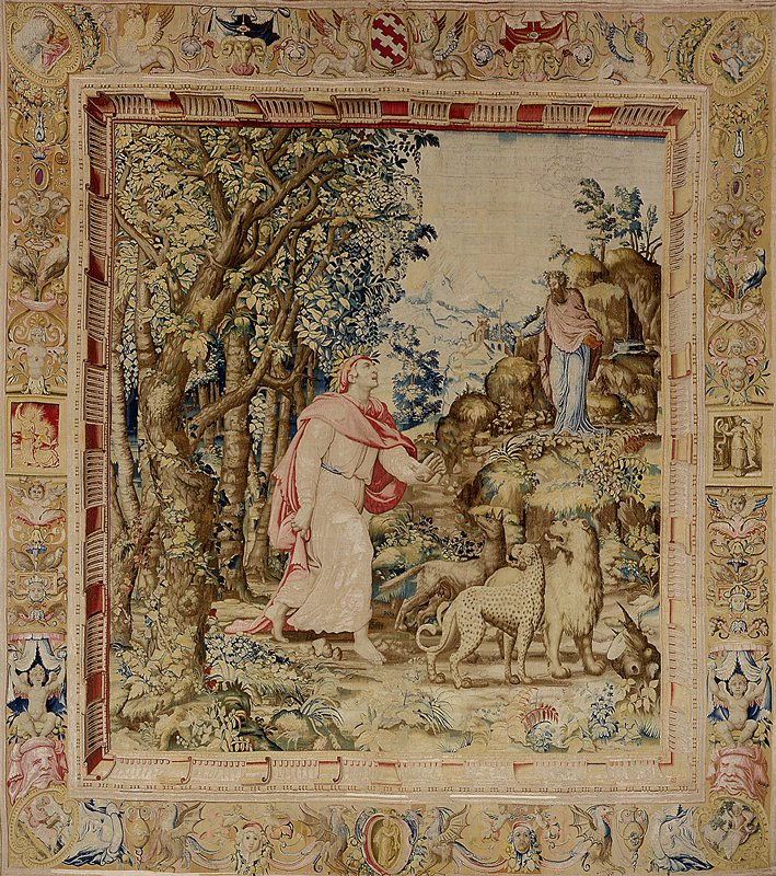 tapestry; warp undyed wool, 7-9 ends per cm.; weft dyed wool and silk, 26-44 ends per cm.