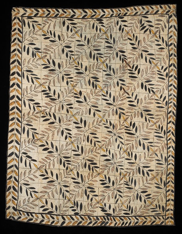 paper-like plant fiber cloth of light tan with brown flecks; painted design with border containing light brown striped and dark brown leaves; center has irregular grid with geometric leaf design in browns