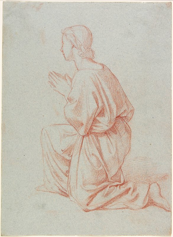 Kneeling figure resting on PL knee and PR foot, hands together; 3/4 view from PL, back; hair drawn into low bun; figure wears loose garment, gathered at waist