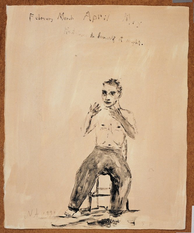 """Man in long pants, naked from the waist up; he sits in a chair, facing forward and gestures with his hands; the words """"February March April May/He talks to himself at night"""" inscribed, UC; cream background"""