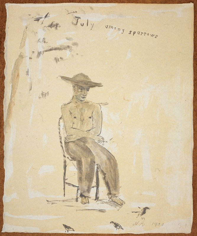 """Man in full view, wearing a wide rimmed hat and long pants; he faces forward in a chair; his body turned slightly; a cigarette in his PR hand; three sparrows at his feet; the words """"July Among Sparrows"""" inscribed, UC; predominant colors: blue, grey and yellow"""