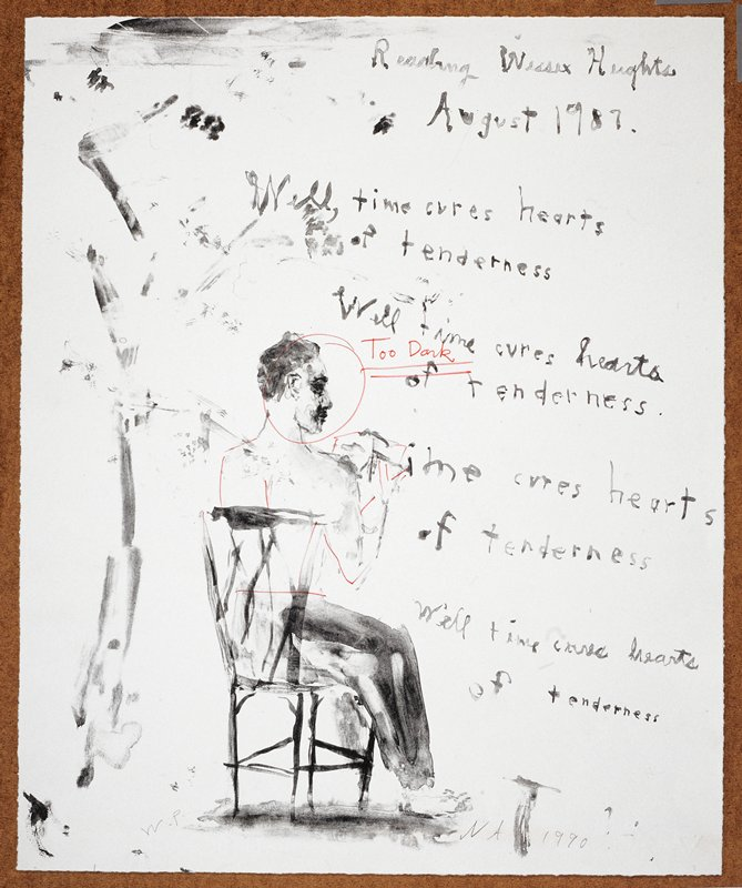 """Man seated in a chair with his back to the viewer; he reads from a paper in his lap; citations from the poem 'Wessex Heights' are displayed in front of him like a muse or thought bubble; the words """"Reading Wessex Heights/August 1987"""" inscribed, UC"""