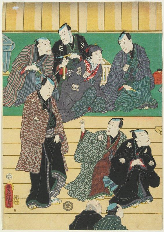 left sheet of a vertical ōban pentaptych