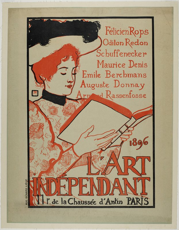woman outlined in red with black hat and collar; she is reading a book; text in red with black outline; black text at bottom; black border