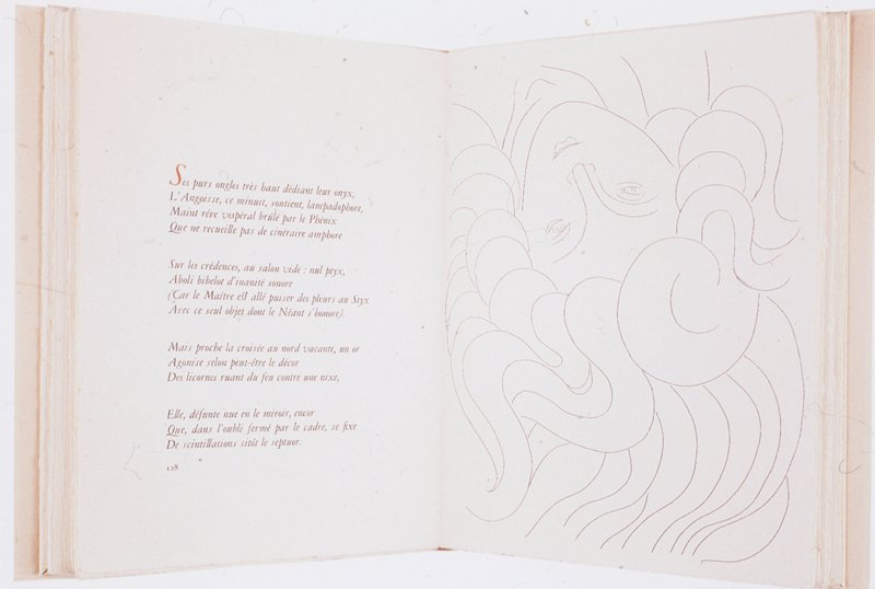From illustrated unbound book Poésies (Poems) by Stéphane Mallarmé with etchings by Henri Matisse