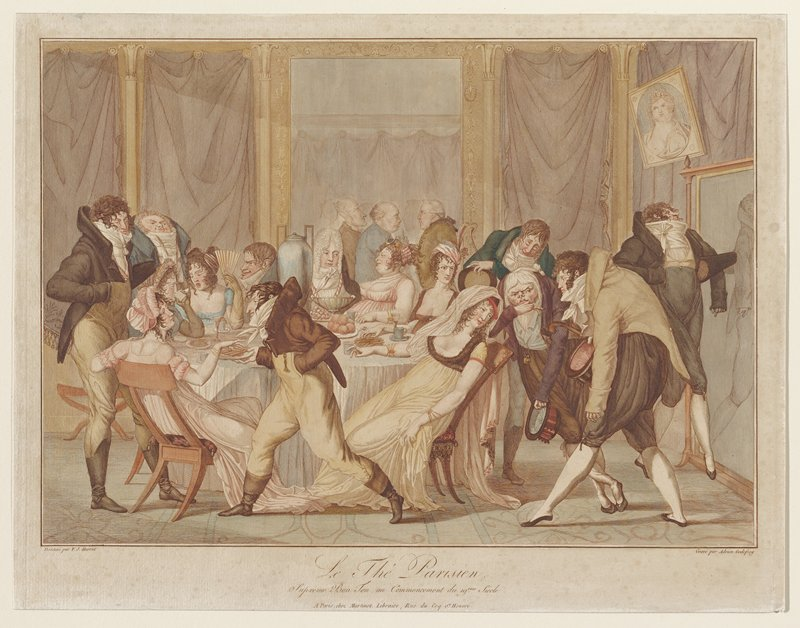 Satire of early 19th-century French society gathering for tea