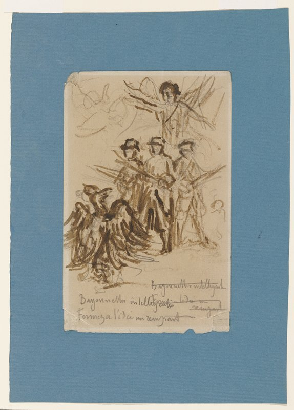 sketchy image of three standing figures holding drawn swords; large bird before figures at L edge; winged figure at top center; possible drawing on back of sheet