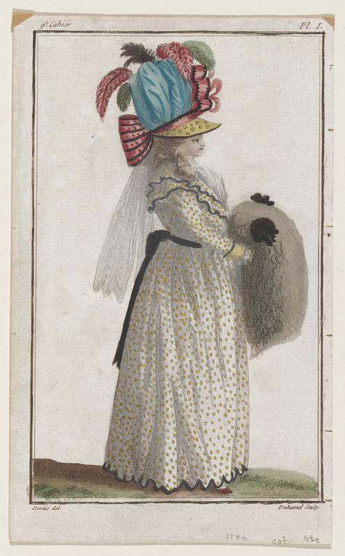 Woman in profile in white gown with yellow dots, a gray muff, and a blue hat with a yellow brim and decorated with pink ribbon and pink and green plumes