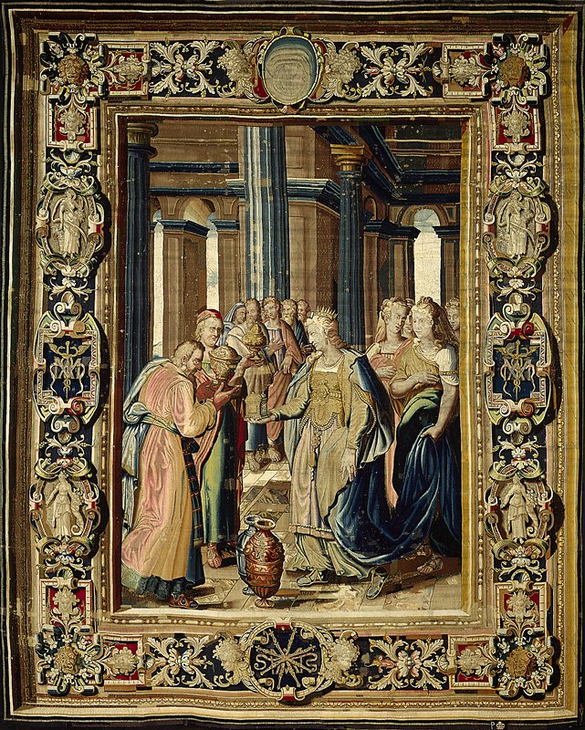 a piece from the cycle of tapestries woven for Marie de' Medici, The Stories of Queen Artemisia, based on an epic account by Nicolas Houel; woven in the Faubourg Saint-Marcel Manufactory of Marc de Conans and François de la Planche; warp undyed wool, 6½-7½ inds per cm., weft dyed wool and silk, silver and silver-gilt yarns, 24-40 ends per cm.