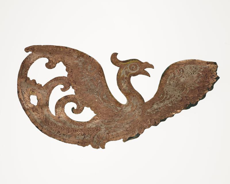 flying bird with outstretched wings, facing R; mounted on black cloth-covered board with L2003.116.7.2, .3