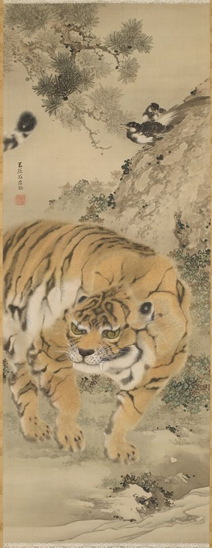 standing tiger with stream in foreground; rock with birds on UR; branch from pine tree at UL