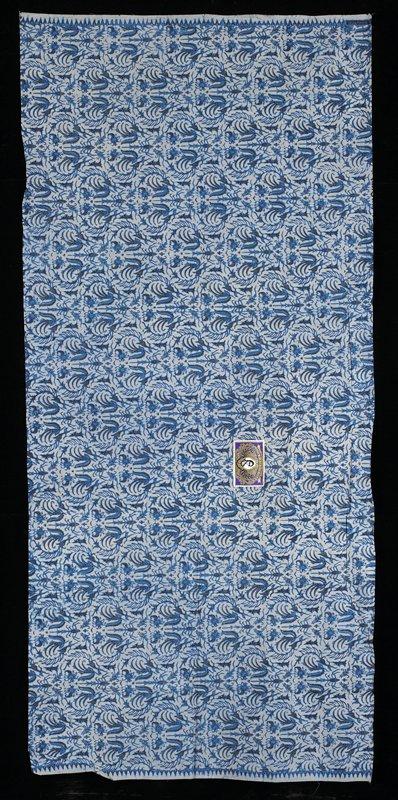 light blue ground with dark and medium blue organic repeating designs