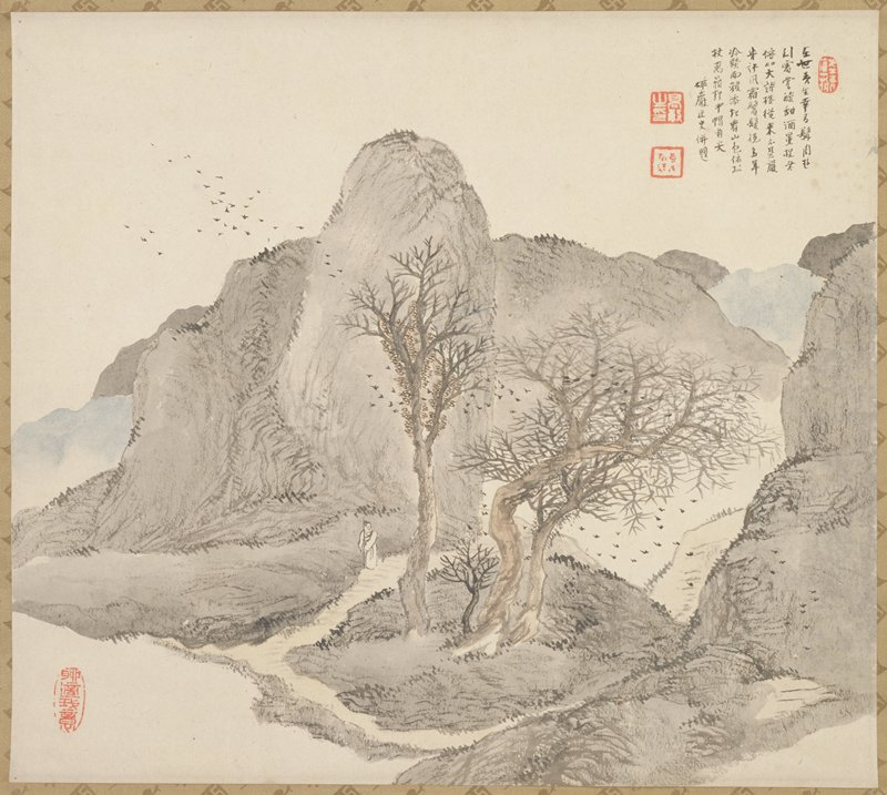 scholar walking on a path in the mountains; a flock of birds hover overhead and in the trees