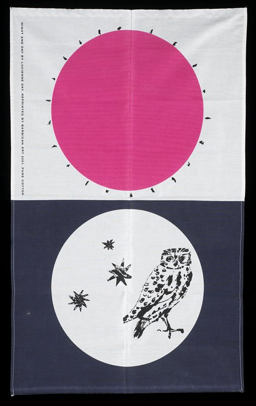 white top panel with pink circle and radiating black lines; bottom panel is blue with white central circle containing three black stars and owl