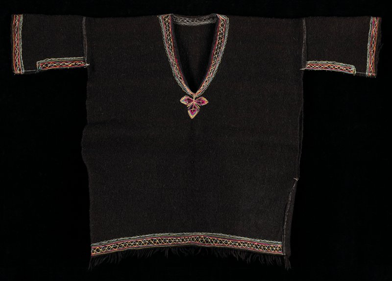 Plain dark brown felt with embroidery at neck, sleeves and waist.