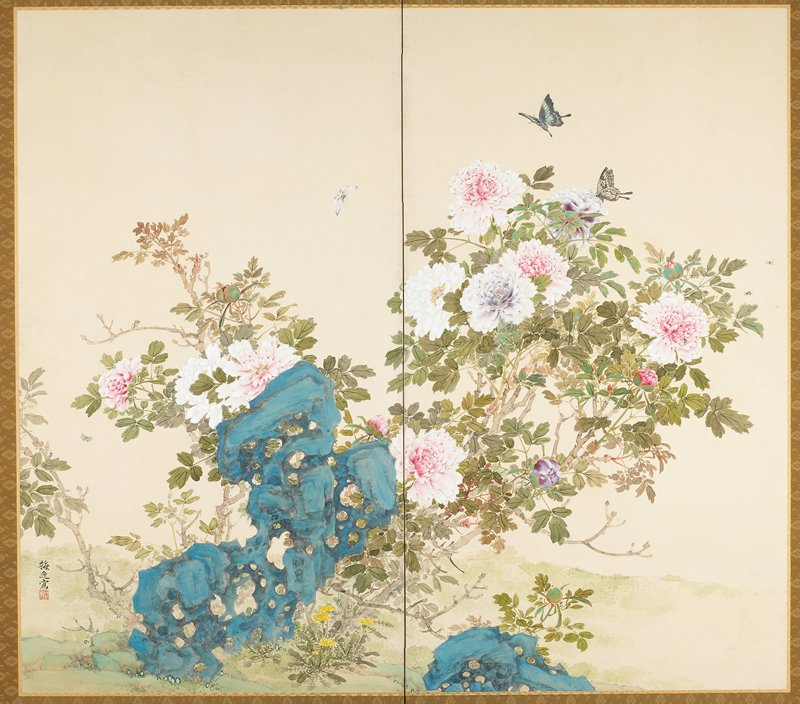 pink, light lavender and white peonies and yellow dandelion-like flowers; two blue rocks in foreground; butterflies, bees and other insects; three-character inscription and seal, LLC
