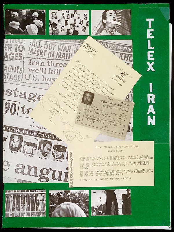 """maquette, somewhat intact; archival material for the production of """"Telex: Iran""""; (archival materials include three book maquettes--one of which has 53 cards with mounted photostats--; seven preliminary versions of the cover; one back cover; and seven maquette material pieces)"""