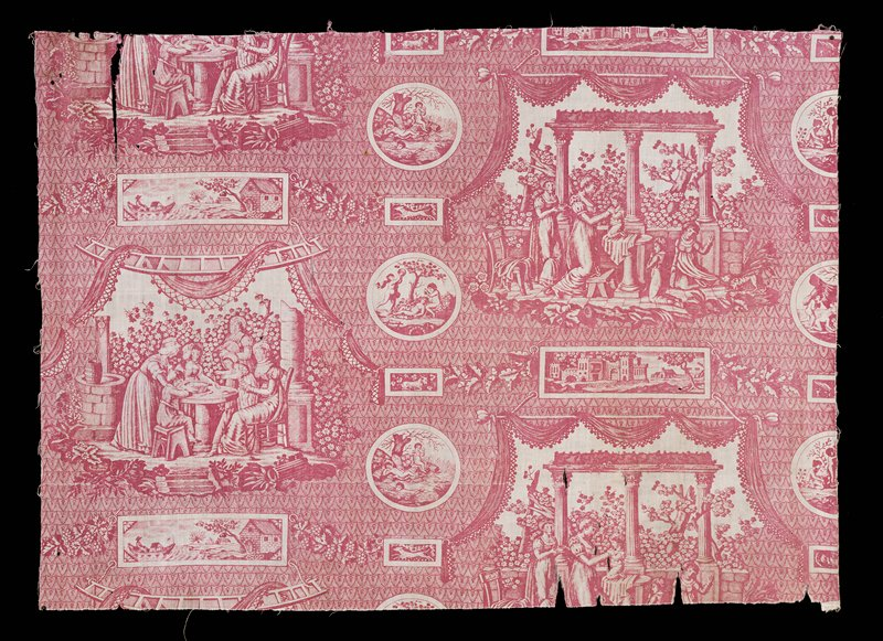 Plum colored medallion toile, Directoire groups of mother and children and medallion prints. Somewhat faded and torn.