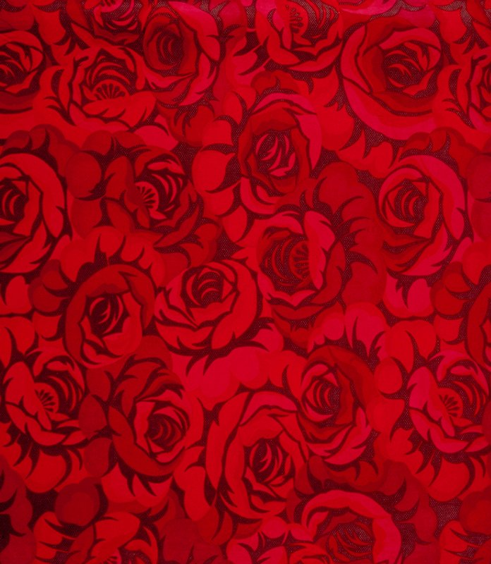 "Large roses on speckled background. Vert. Rpt. 35.5"". Red on dark red bkg. Crimson"