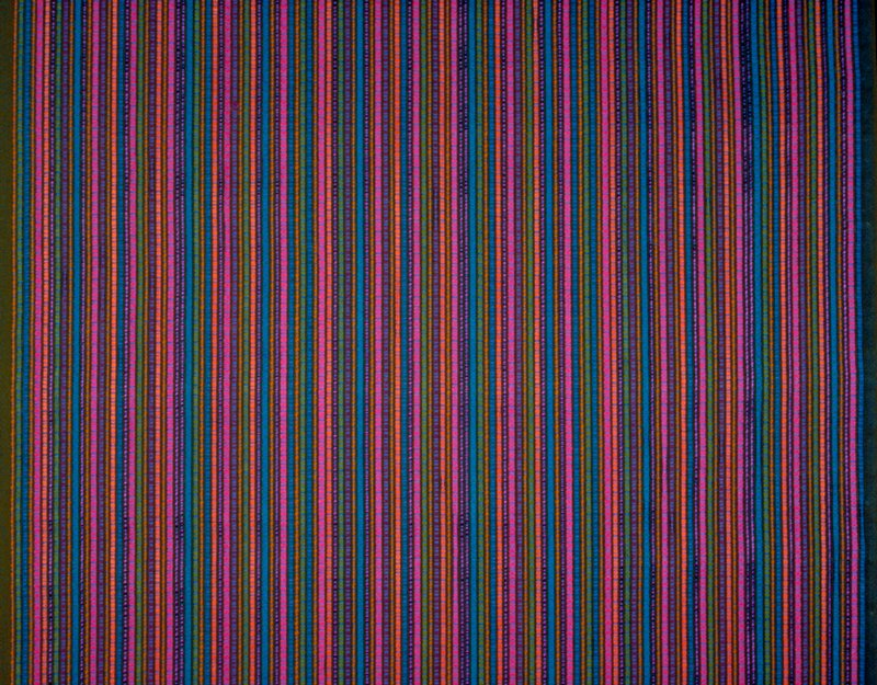"""Braid warp. Vertical Stripes of brilliant blue, purple pink,orange. 17.25"""" horiz. Rpt. Sapphire"""
