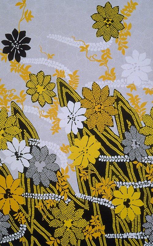 Knit border print;larger stylized flowers. Heavier along bottom edge. Gold. black (gold/black)