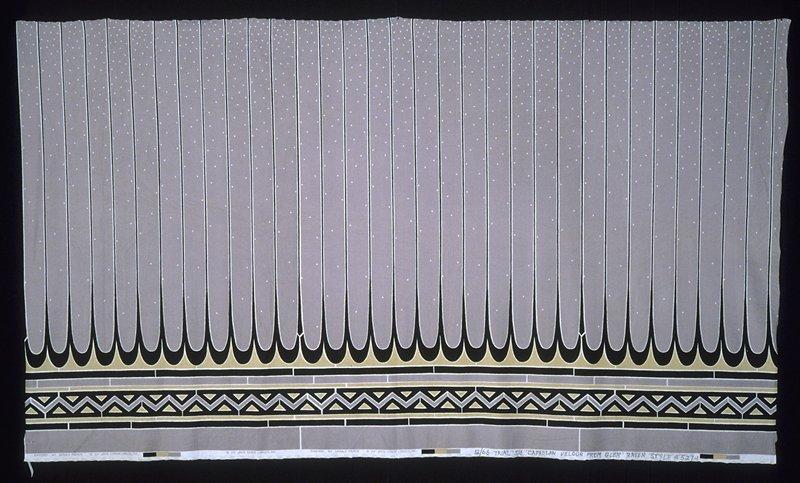 Velour jersey fashion print with striped border print, zig-zag print along bottom edge. Velour jersey fashion print with striped grey border print, zig-zag black print along bottom edge. (grey/black)